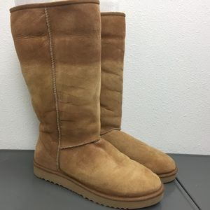 Ugg Tall Classic Tan Leather Sheepskin Boots W 11